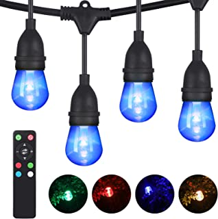 DEWENWILS 52.5ft RGBW LED Outdoor String Lights Color Changing, Dimmable, 26 Shatterproof Bulbs(2 Spare), Waterproof LED Patio Lights, Backyard Lights with Remote for Pool Cafe Garden, UL Listed