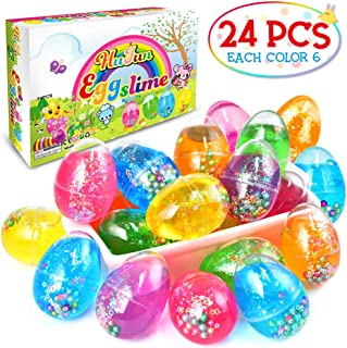 HUFUN Easter Basket Stuffers Easter Toys Clear Slime Party Favors Easter Eggs Fillers 24 Pack Unicorn Slime Party Favors for Kids Girls Birthday Gift Slime Game Stuff Easter Gifts for Kids