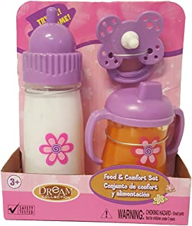 DREAM COLLECTION 63248 Toy Baby Feeding Set Talking Baby Bottle, Tippy Cup, Pacifier, Pink/Purple