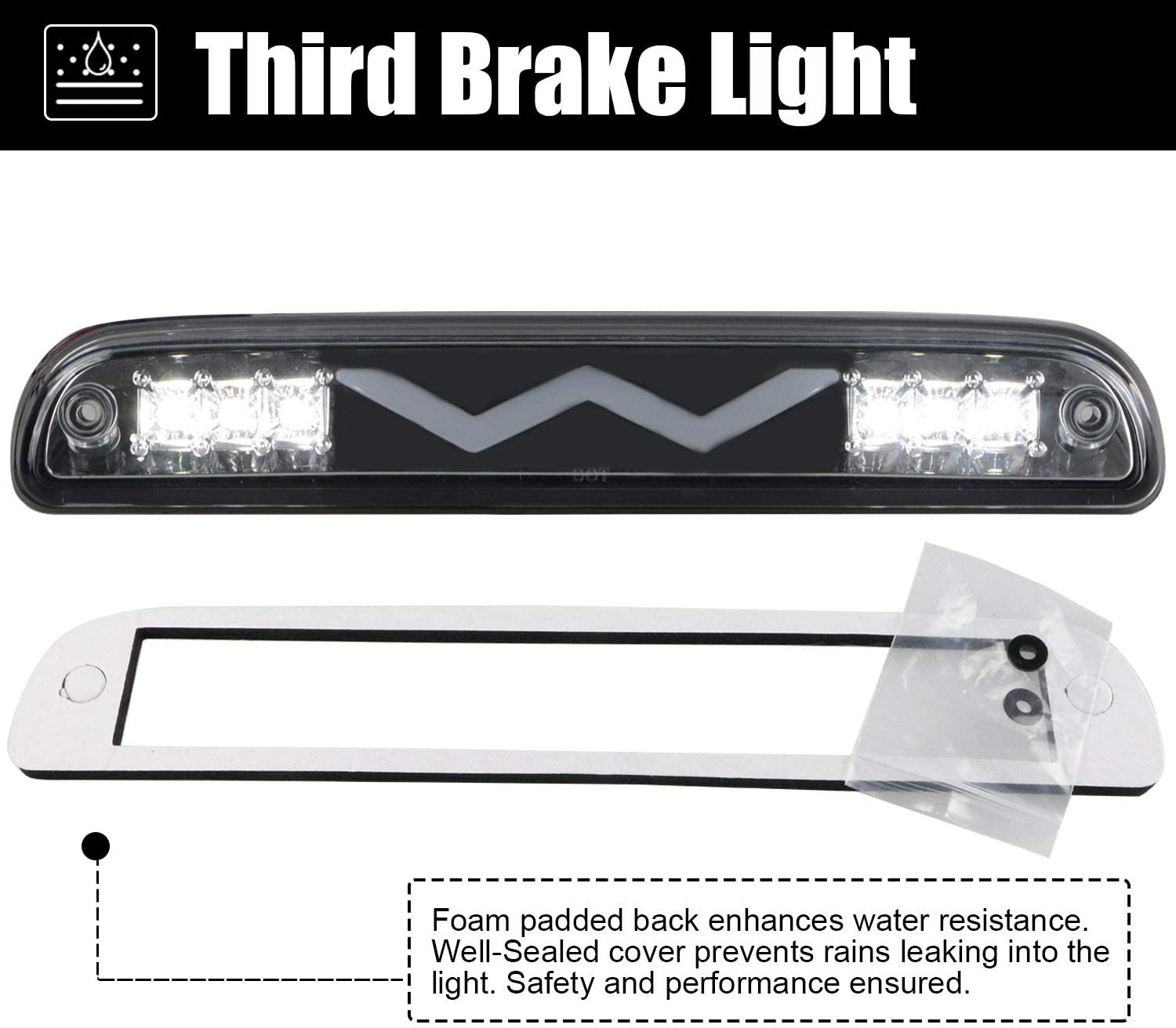 Third Brake Light for 99-16 F250 F350 Super Duty//93-11 Ranger//01-05 Explorer//94-10 Mazda B-Series Brake Cargo Light Stop Lamp