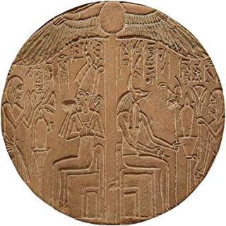 Non-Slip Rubber Round Mouse Pad,Egyptian,Egyptian Hieroglyphs on The Wall Stone Surface Scripts Ancient Arts Theme Image,Light Brown,11.8