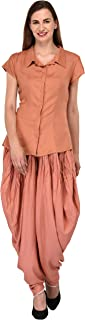 Patrorna Blended Women's Shirt Top and Dhoti Pant Ethnic Suits Set In Peach (Size XS-7XL, CE604810PC)