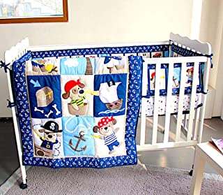 BabyCrib Unique Cute Adorable, Pirate Bear in Sea, Blue and White, 10 Piece Bedding Set, Including Crib Bumper, Diaper Sta...