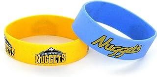 aminco NBA Denver Nuggets Silicone Rubber Bracelet Wristbands, 2-Pack