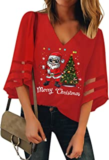LUYEESS Women's Ladies Merry Christmas Printed Tree Santa Casual V Neck Loose Mesh Panel Chiffon 3/4 Bell Sleeve Blouse To...
