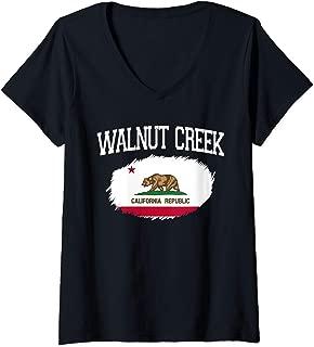 Womens WALNUT CREEK CA CALIFORNIA Flag Vintage USA Sports Men Women V-Neck T-Shirt
