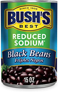 BUSH'S BEST Canned Reduced Sodium Black Beans (Pack of 12), Source of Plant Based Protein and Fiber, Low Fat, Gluten Free,...