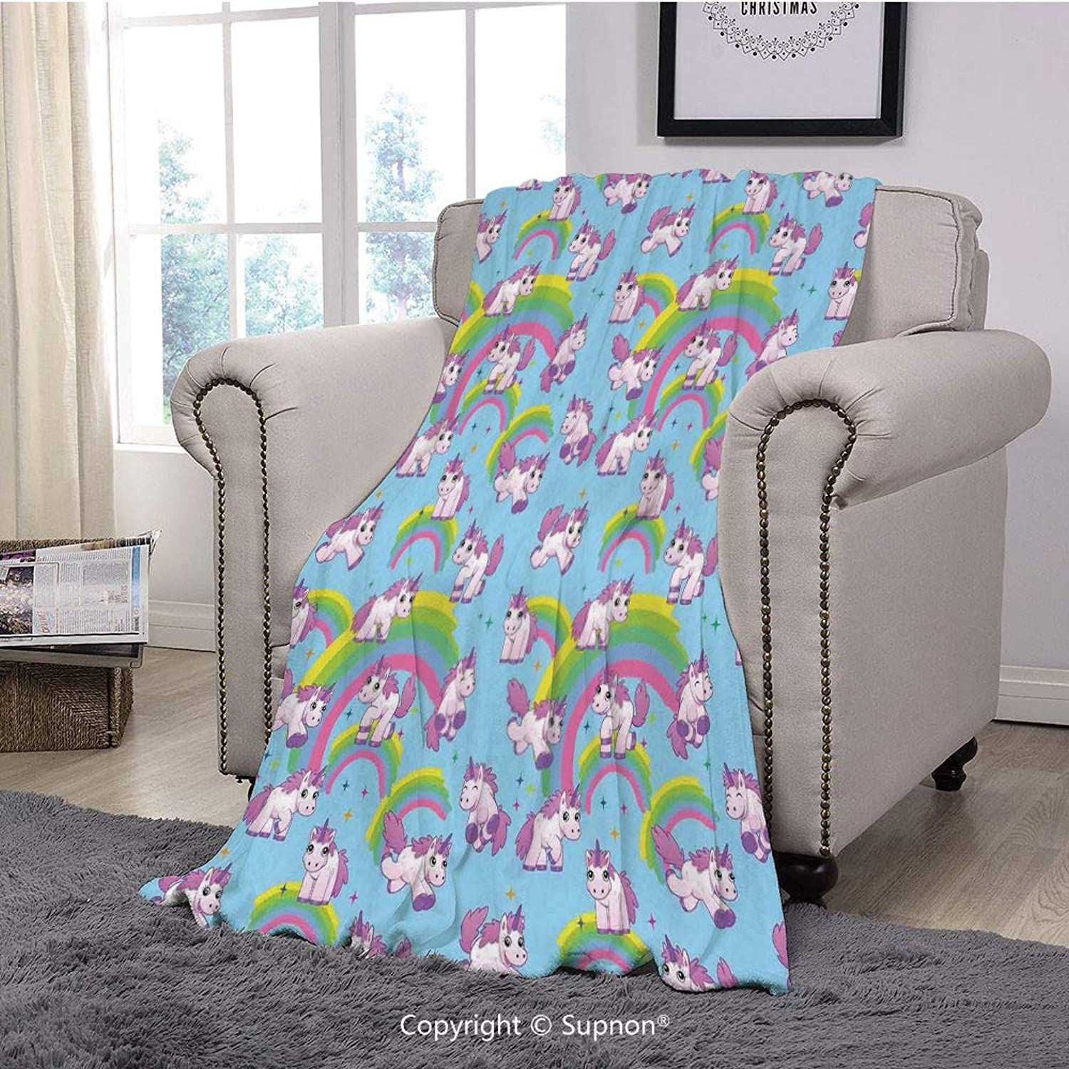 BeeMeng Printing Blanket Coral Plush Super Soft Decorative Throw Blanket,Unicorn Home and Kids Decor,Repeating Pattern Mystical Ancient Beast Purity Grace Symbol Graphic,Multi(59  x 59 )