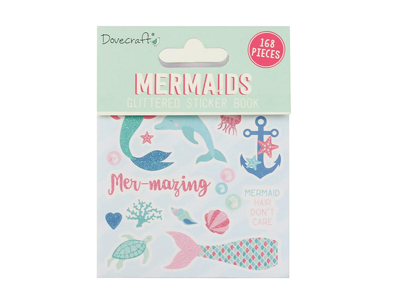Dovecraft Book-Mermaids-168 Stickers-Glitter Designs-for Crafts, Stationery, Journaling, Paper, Multicolour, One Size