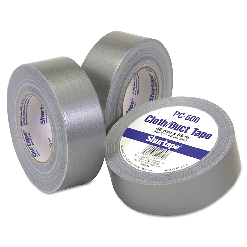 Shurtape PC-600-2 Cloth General Purpose Duct Tape, 22 lbs/in Tensile Strength, 60 yds Length x 2