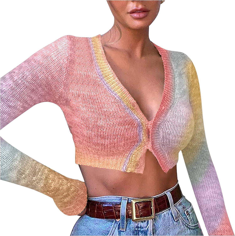 Women's Tie Dye Button Down V Neck Cropped Knitted Sweater, Ladies Tye Dye Knit Cardigan Crop Tops