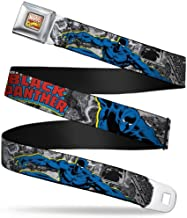 Buckle-Down Seatbelt Belt - BLACK PANTHER Action Poses/Stacked Comics Grays/Yellow/Blue/Red - 1.5