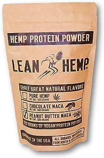 Peanut Butter Maca Hemp Protein Powder by Lean Hemp – Organic, Vegan, Hi-Fiber – 50% Protein