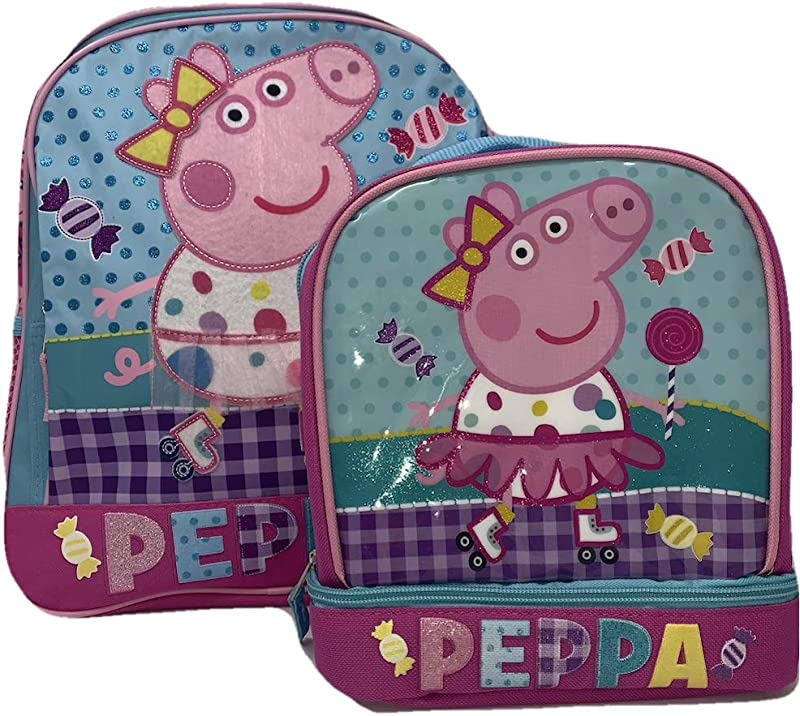 Peppa Pig Skating Girls 14 Inch Backpack And Insulated Lunch Bag Bundle Pink