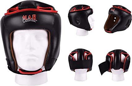 Rex Leather Moulded Foam Padding Head Guard - Kickboxing//Thai Boxing Guards Velcro Closure For Training /& Competition M.A.R International Ltd