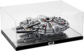 JackCubeDesign Millennium Falcon Display Case Showcase Storage Box Holder Organizer with Carbon Fiber Style Stand and Clear Acrylic Cover(Black, 20.87 x 14.17 x 8.58 inches) – :MK434A