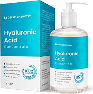 GENIUS Hyaluronic Acid Serum 8OZ, Pure Organic HA, Anti Aging, Anti Wrinkle, The Smart Face Moisturizer for Dry Skin and Fine Lines, Leaves Skin Full and Plump, Pump Bottle by Genius Chemistry