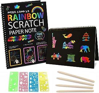 Scratch Paper Art Notebooks - Rainbow Scratch Off Art Set for Kids Activity Color Book Pad Black Magic Art Craft Supplies ...