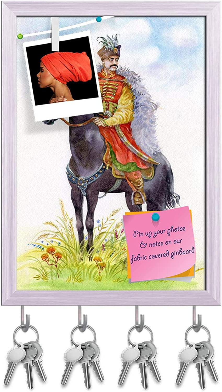 Artzfolio Ukrainian Cossack On A Black Horse Key Holder Hooks   Notice Pin Board   White Frame 10 X 14Inch
