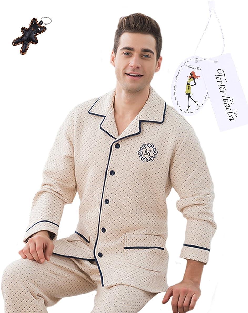 Tortor 1Bacha Men's Air Cotton Long Sleeve Button Down Pajama Set Sleepwear