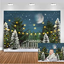 Mocsicka Christmas Eve Backdrop 7x5ft Winter Snow Frozen World Green Pine Tree Background Merry Christmas Starring Night Party Decoration Banner Photography Backdrops