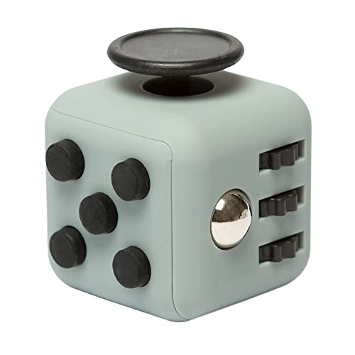 EDC Fidgeter 6 Sided Dark Grey and Black Fidget Cube Dice Toy. 6-Sided Prime Real Original Cool Mini Desk Toy. Authentic Figit Cube Fun Keychain Dice Toy. For Boredom, ADHD & Stress.