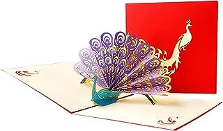 DEECOZY Påfågel 3D popup-kort, påfågel pop up födelsedagskort, för syster dotter fru mormor svärmor (påfågel)