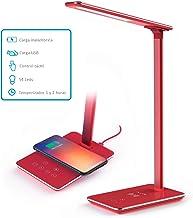 FLUX'S - LED bureaulamp met draadloos opladen en USB-poort, leeslamp met 4 modi en 10 helderheidsniveaus, dimbare aanraakb...