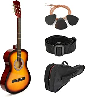 "Pink Wood Guitar with Case and Accessories Great Gift for Kids/Girls/Beginners (30"" Sunset)"