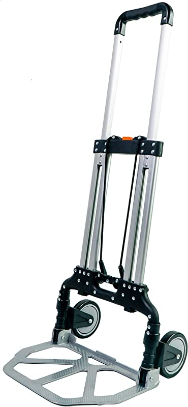 Portable Aluminum Foldable Luggage Hand Cart And Trolley Capacity 240Lbs Color Black