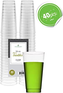 Clear Disposable Plastic Cups 16 Oz. Pack Of (40) Fancy Hard Plastic Cups - Party Accessories - Wedding - Cocktails- Tumblers