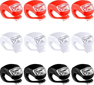 Mudder 12 Pieces Bicycle Light Silicone LED Bike Light Waterproof Bike Headlight and Taillight