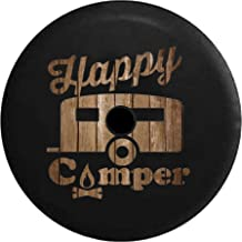JL Spare Tire Cover Happy Camper Campfire Distressed Wood with Backup Camera Hole Black 32 in