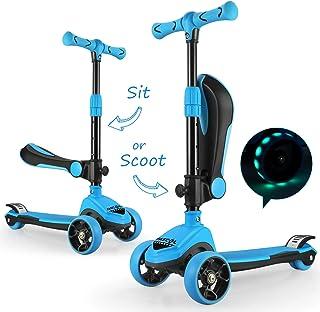 comprar comparacion Fascol 2 en 1 Patinete de 3 Ruedas de LED para Niños Scooter Vespa de Asiento Desmontable para 18 Meses - 8 años Niños Pat...