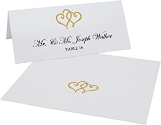 Linked Hearts Printable Place Cards, Gold, Set of 60 (10 Sheets), Laser & Inkjet Printers - Perfect for Wedding, Parties, and Special Events