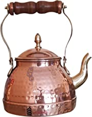 Visiaro Hammered Copper Tea Kettle with Wooden Handle, Brass Spout and Tin Lining Inside, 2 Quart