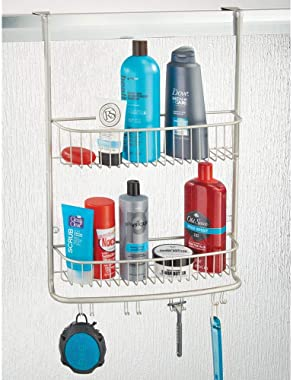mDesign Extra Wide Metal Wire Over The Bathroom Shower Door Caddy, Hanging Storage Organizer Center with Built-in Hooks and B