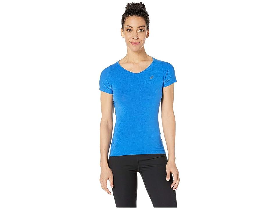 ASICS Short Sleeve V-Neck Top (Illusion Blue) Women
