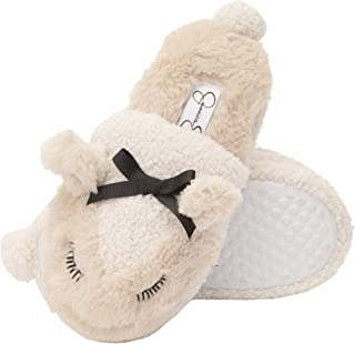 Jessica Simpson Girls Lamb Slippers - Comfy Warm Fuzzy Memory Foam Cute Slip-On House Shoes with Bow