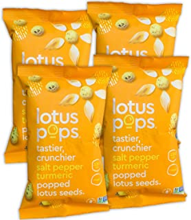 Lotus Pops - Popped Lotus (Water Lily) Seed Snacks – Low Calorie Gluten Free and Vegan Snacks | Plant Protein | Roasted Not-Fried | Paleo | GrainFree | NonGMO Certified | (Pepper Turmeric 4 1oz Packs)
