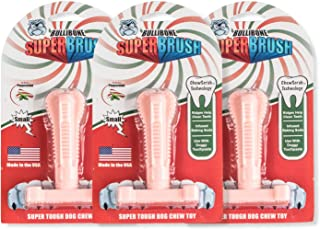Bullibone SuperBrush: Dog Teeth Cleaning Brushing Toothbrush Stick - Long Lasting Nylon Pink Peppermint Chew Toy for Oral ...