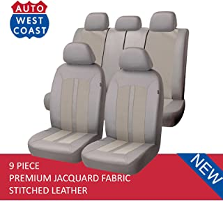 West Coast Auto Car Seat Covers Set for Auto, Truck, Van, SUV - Premium Level Leather & Jacquard Textured Fabric, Airbag Compatible, Universal Fit (9 Pieces) (Beige)