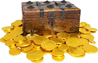 Well Pack Box Wooden Pirate Treasure Chest Strongbox 7.5 x 4 x 3.5 Including 40-45 6oz Belgian Milk Chocolate Gold Coins