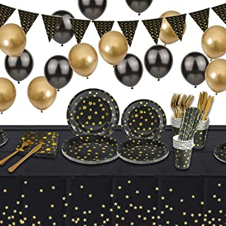 Black and Gold Party Tableware, Party Supplies Set, Paper Plates Cups Napkins Forks Knives Paper Straws Balloons Tablecove...