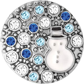 Ginger Snaps Kiss Snowman Charm Accessory | Interchangeable, Customizable & Adjustable Snap Jewelry Collection | Button Charms for Necklaces, Bracelets & Rings | Standard Size | SN19-35