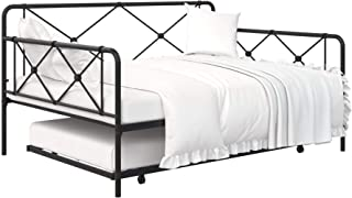 REALROOMS Ally Metal Farmhouse Daybed with Trundle, Sturdy Secured Steel, Full, Black