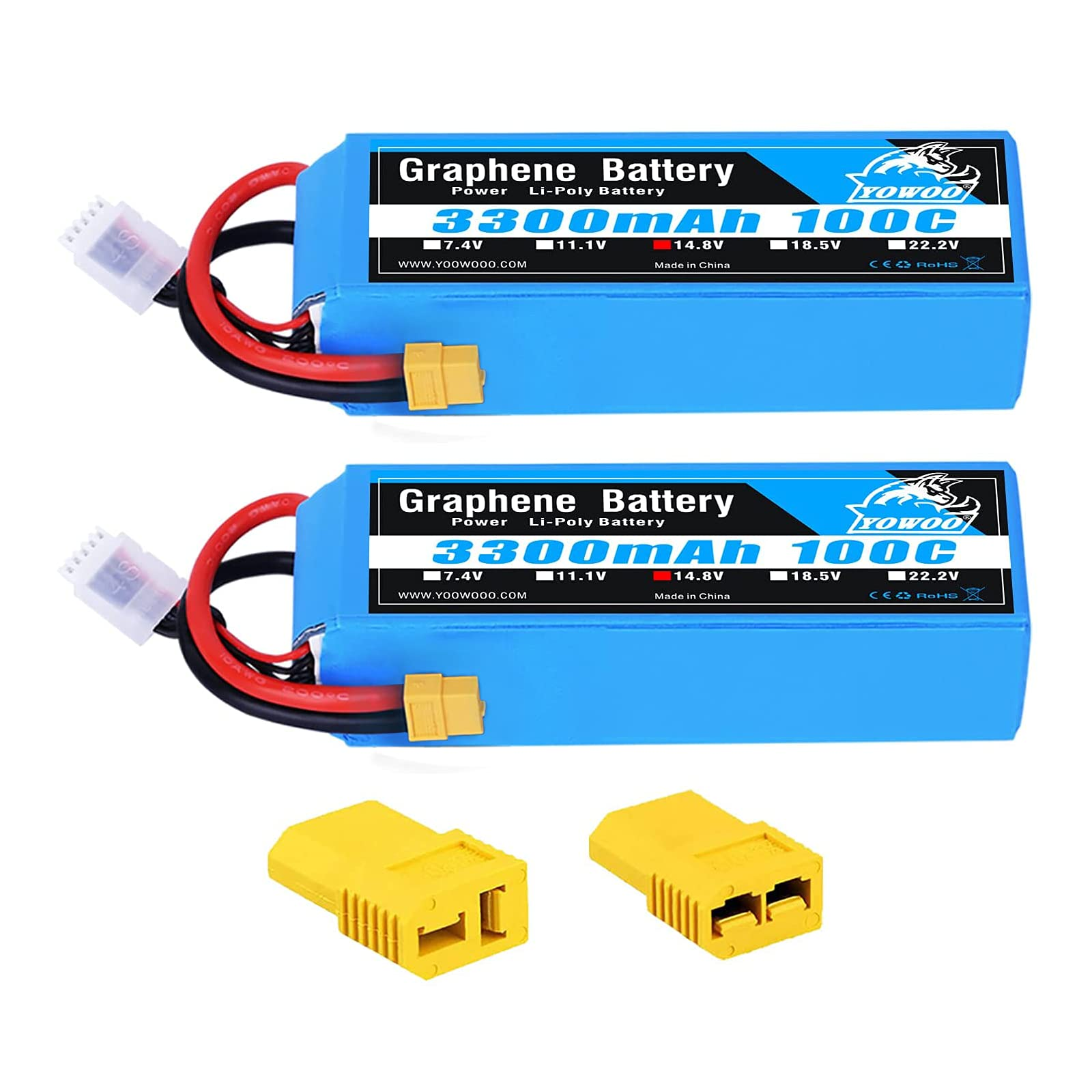 2 Baterias LIPO Grafeno 14.8v 3300mah 100C 4S XT60 Plug YoWo