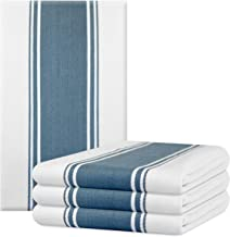 The Homemakers Dish Kitchen Towels Vintage Striped 100% Cotton Tea Towel 20 x 28 inch Set of 4, Blue