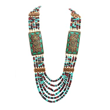 Zephyrr Fashion Multi Strand Wooden Beaded Necklace Tibetan Handmade Jewellery for Girls and Women