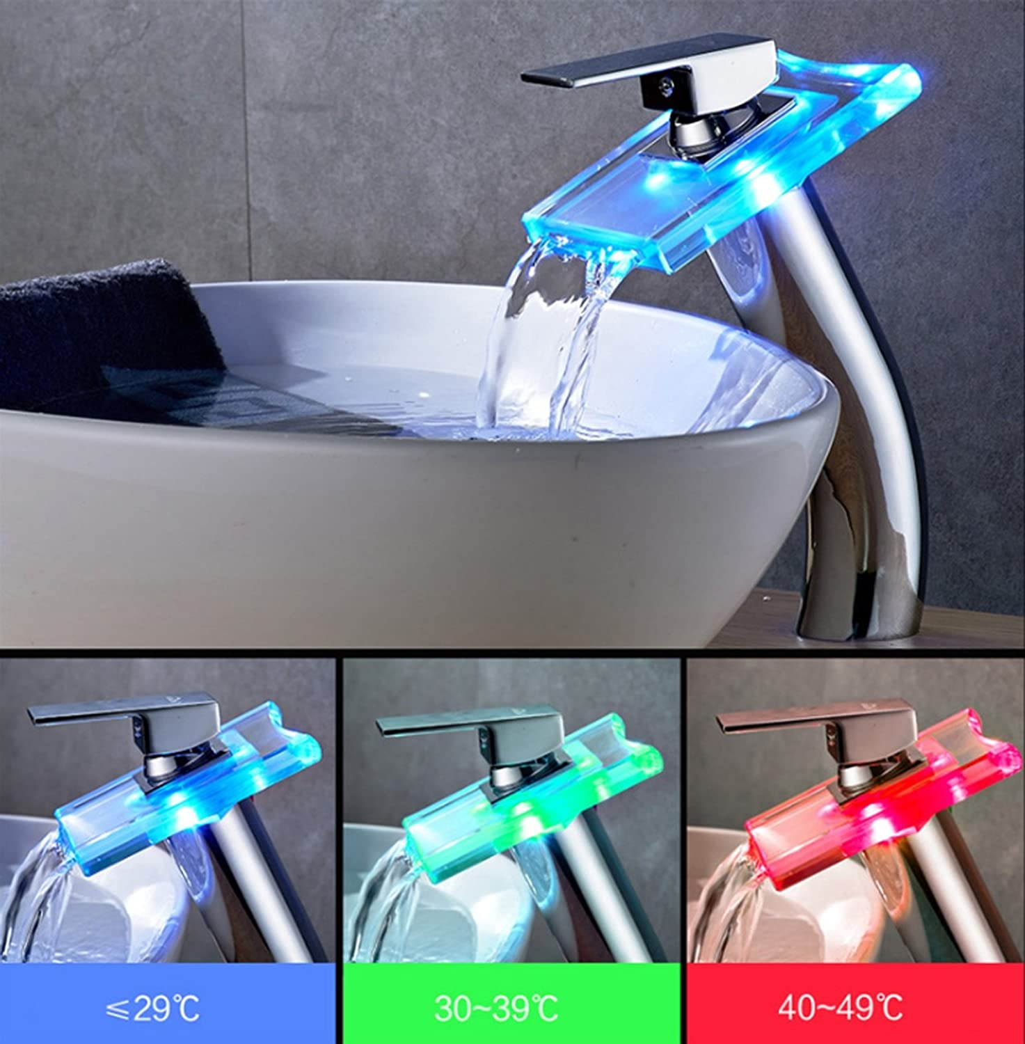 Colour Changing LED Light Waterfall Bathroom Sink Faucet,One Hole Single Handle Glass Waterfall Tap With Ceramic Valve,Bathroom Toilet Kitchen